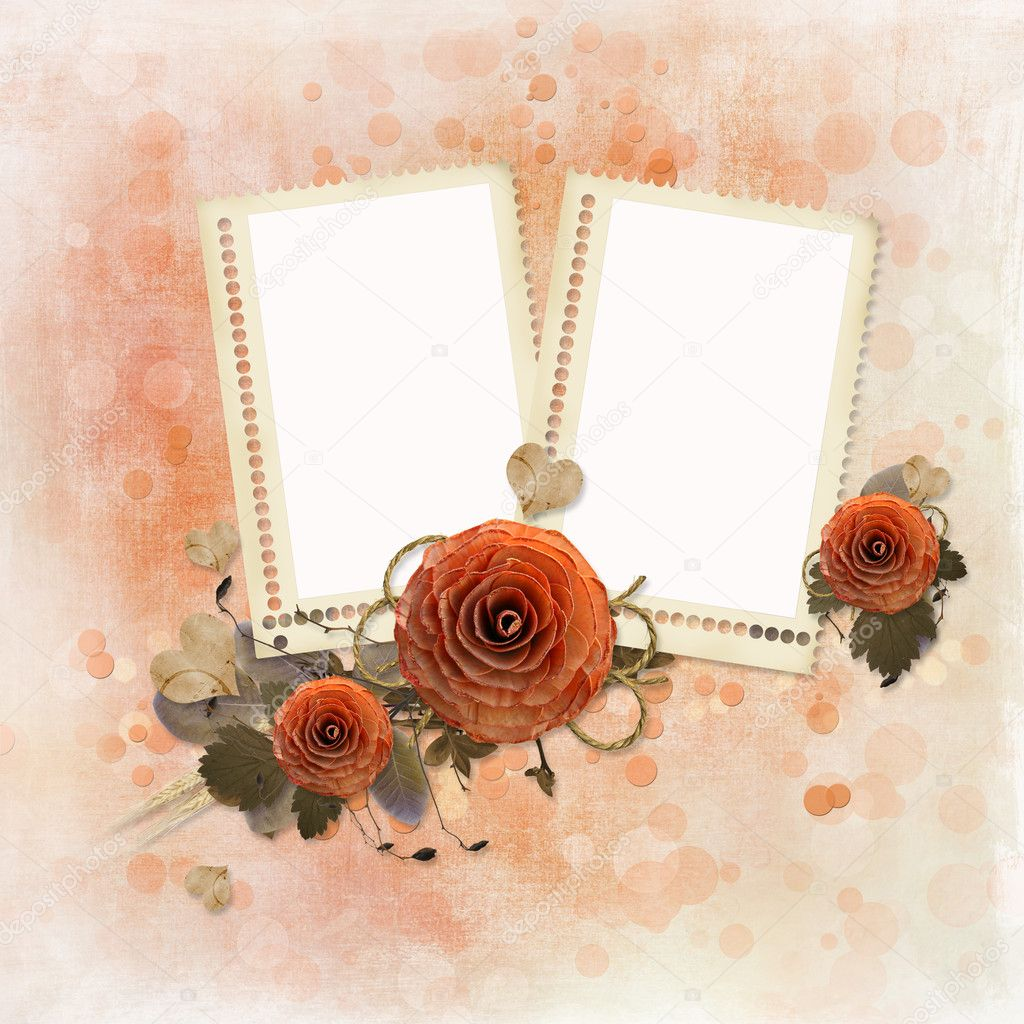 Grunge background with two  photo frames and wooden roses — Stock Photo #8371902