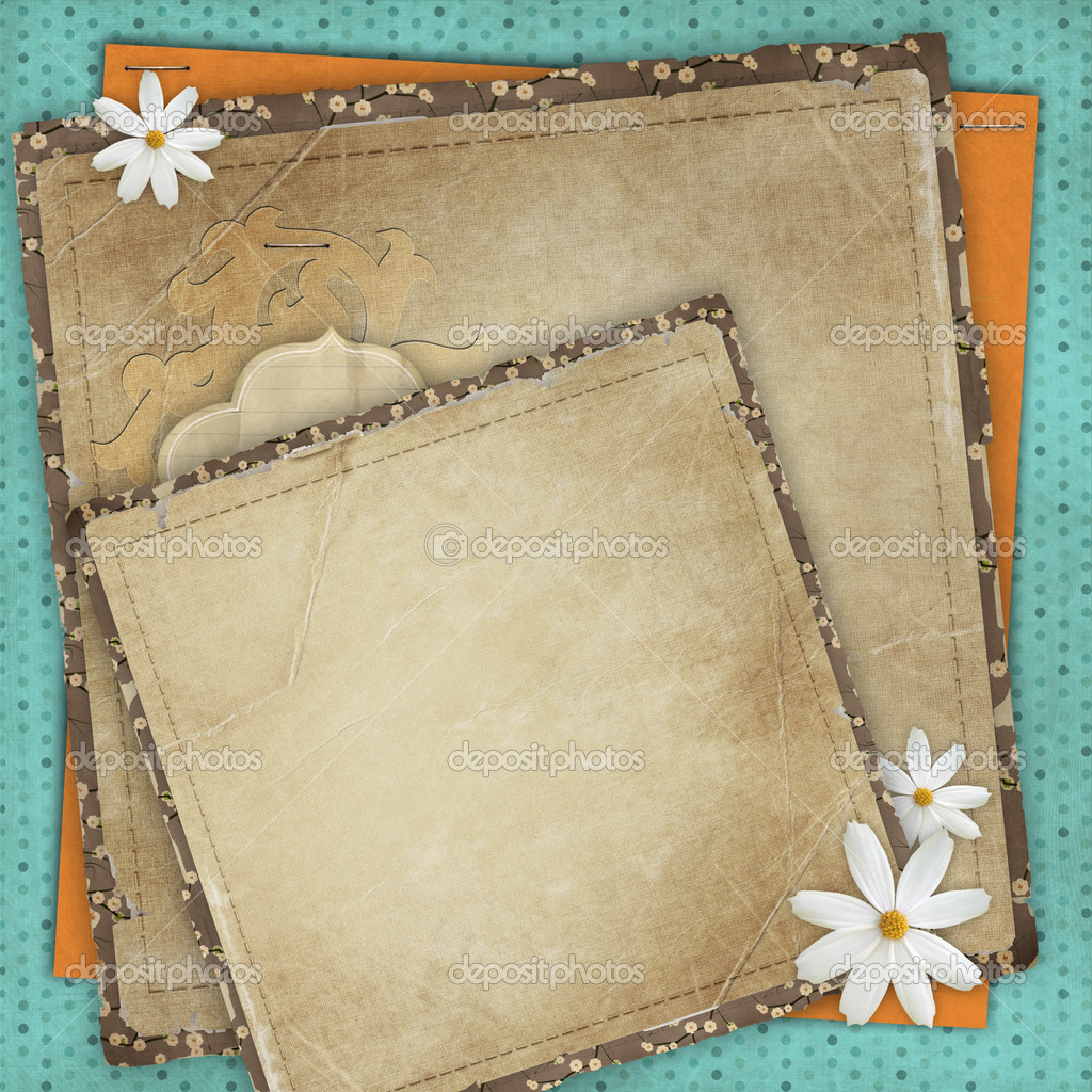 Vintage card for the holiday with frames, flowers on the abstract background — Stock Photo #8378803