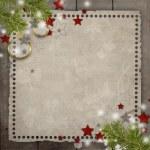 sfondo di Natale retrò con pino, palla, stelle, luci e co — Foto Stock