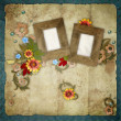 Old frames on vintage background — Stock Photo