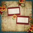Stock Photo: Old frames on vintage background