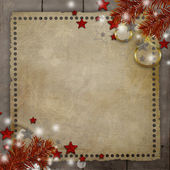 Retro Christmas background with pine, ball, stars, lights and co — Stock Photo