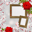 Card for congratulation or invitation with hearts and red roses — 图库照片