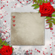 Card for congratulation or invitation with hearts and red roses — ストック写真