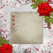 Card for congratulation or invitation with hearts and red roses — Stock Photo #8422699