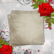 Card for congratulation or invitation with hearts and red roses — Stockfoto