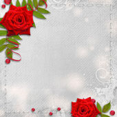 Card for congratulation or invitation with hearts and red roses — Stock Photo