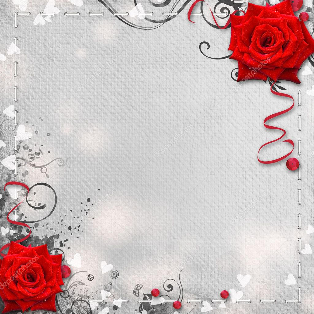Card for congratulation or invitation with hearts and red roses — Stock Photo #8422712