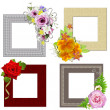 The frames is decorated with a bouquet of flowers. Isolated on w — Stok fotoğraf