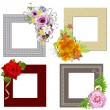 The frames is decorated with a bouquet of flowers. Isolated on w — Stock Photo