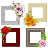 The frames is decorated with a bouquet of flowers. Isolated on w — 图库照片