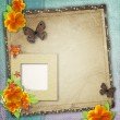 Vintage background with frame for photo - Stock Photo