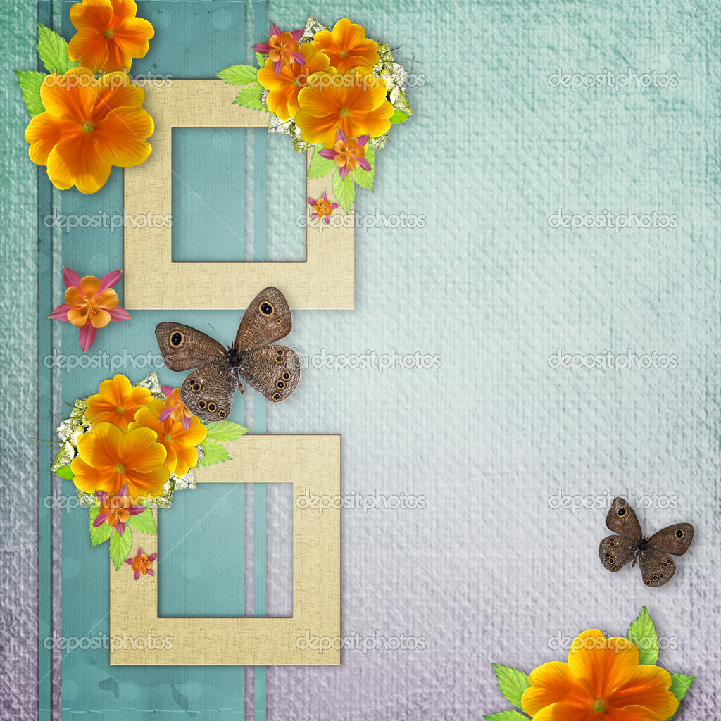 Vintage background with frame for photo, butterfly and yellow flowers — Stock Photo #8500070