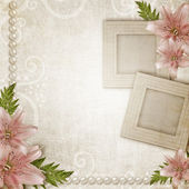 Paper grunge background with pink lily — Stock Photo