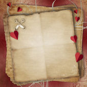 Greeting Card to St. Valentine's Day with hearts and Old Paper — Stock Photo