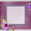 Background with a frame for the photo or text and with flowers — Stock Photo