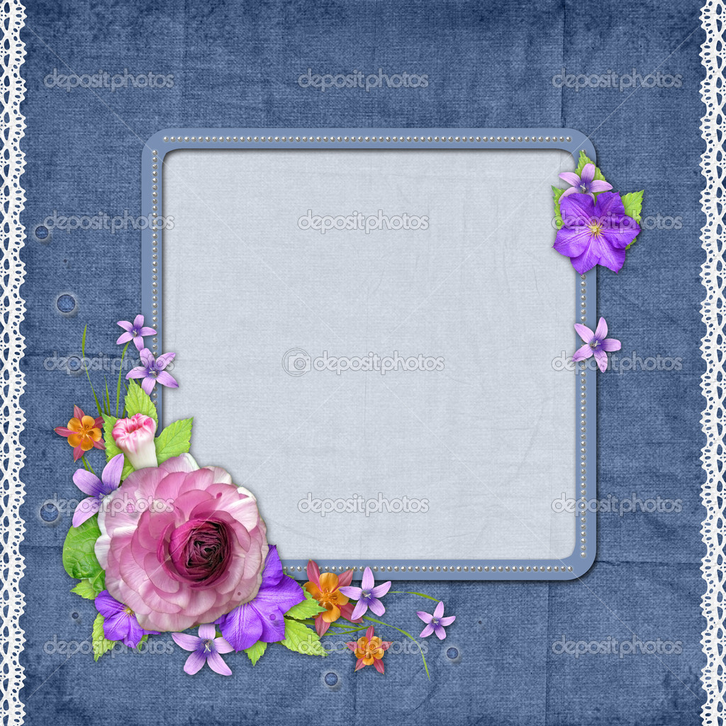 Blue textured background with a frame for the photo or text and with flowers — Stock Photo #8757569