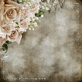 Wedding vintage romantic background with roses — Stok fotoğraf