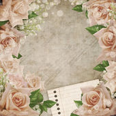 Wedding vintage romantic background with roses — Stock Photo