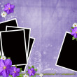 Card for congratulation or invitation with frames and flowers — Stock Photo