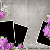 Card for congratulation or invitation with 3 frames and flowers — Stock Photo
