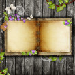 Open blank vintage book on wooden table — Stock Photo