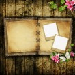 Open blank vintage book on wooden table — Stock Photo #9196973