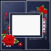 Vintage elegant blue frame with roses, lace and pearls — Stock Photo
