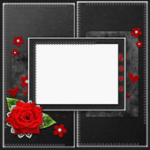 Vintage elegant frame with roses, lace and pearls — Stock Photo