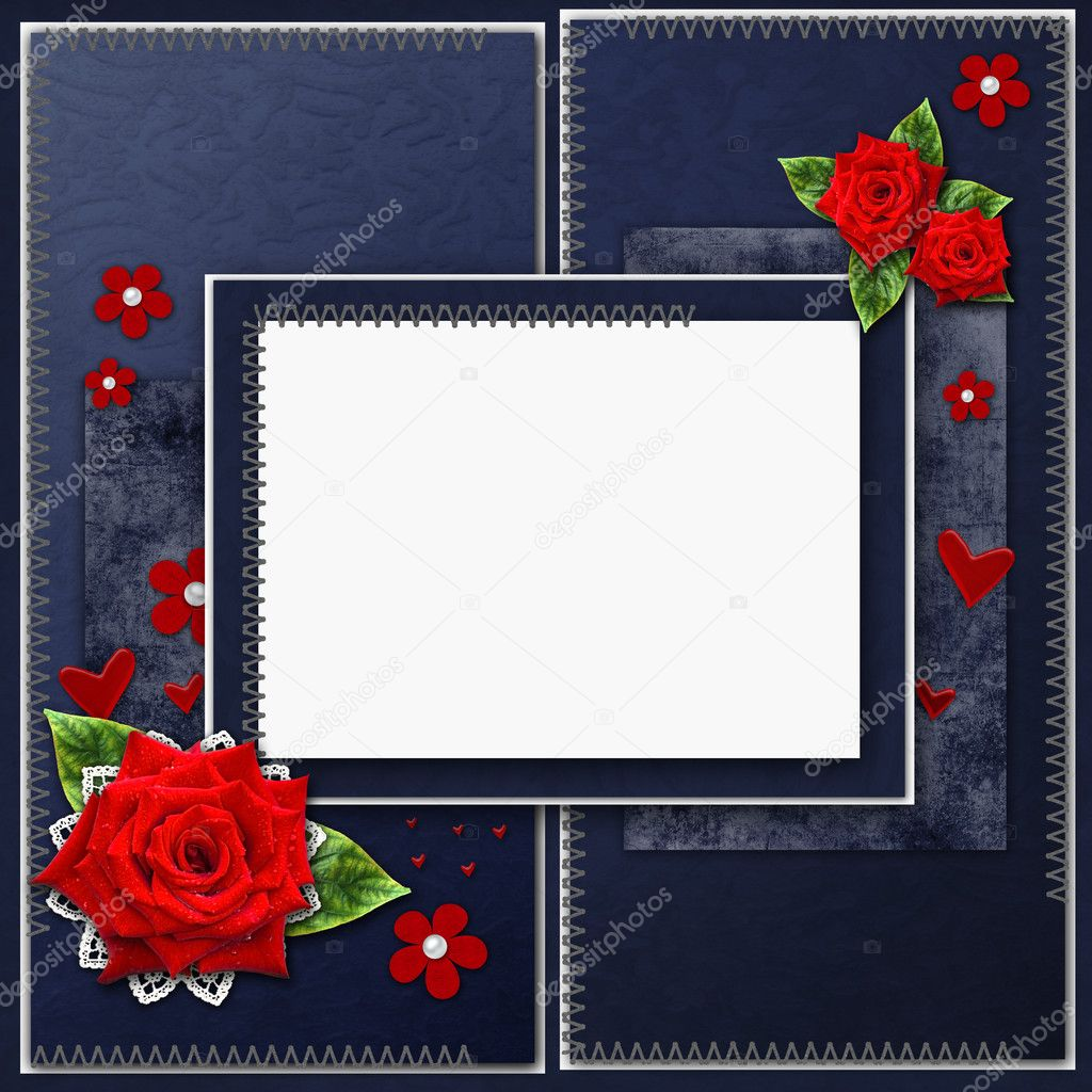 Vintage elegant  blue frame with roses, lace and pearls — Stock Photo #9207097
