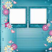 Kartkę z życzeniami z klatek, kwiaty — Zdjęcie stockowe