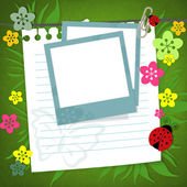 Baby scrapbook card with photo frame — Stock Photo