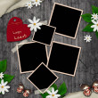 Blank instant photos and small red heart on old wooden grunge ba — Stock Photo