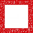 Red frame, white music notes — Stock Photo #9565988