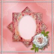 Vintage frame with rose — Stock Photo