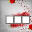 Retro background with stamp-frame, hearts, text I love you, red — Stock Photo #9926024