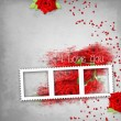 Retro background with stamp-frame, hearts, text I love you, red - Photo