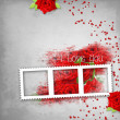 Retro background with stamp-frame, hearts, text I love you, red — Stock Photo