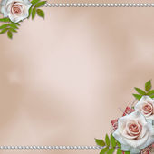 Vintage background with roses and pearls — Stock Photo