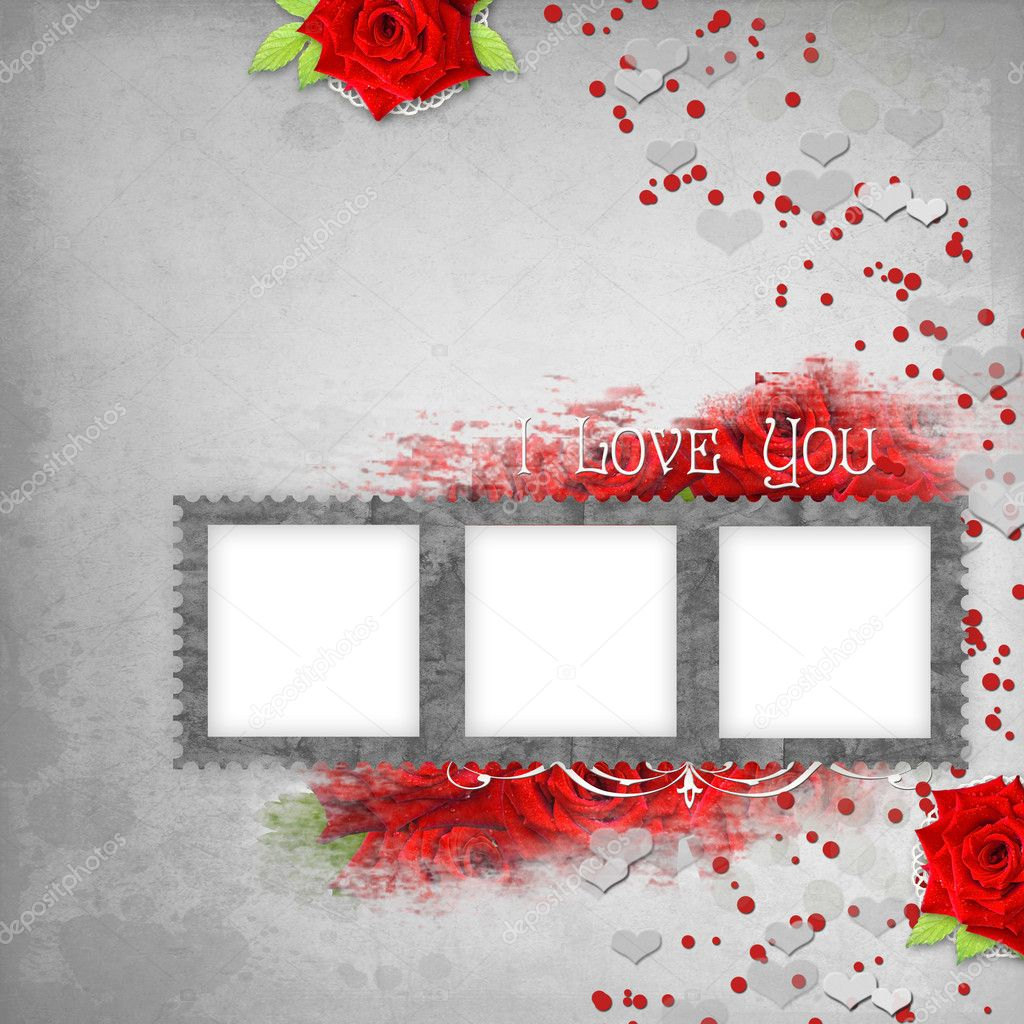 retro background with stamp frame hearts text i love you red roses photo by o_april