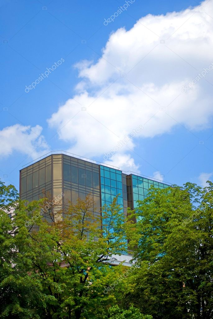 Modern building against the blue sky  Stock Photo #8620598