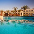 Swimming pool at morning, Hurghada, Egypt - Stock Photo