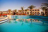 Swimming pool at morning, Hurghada, Egypt — Stock Photo