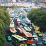 Traffic jam in Xi'an, China — Stock Photo