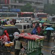 Traffic jam in rainy day on crossroads, Chengdu — Stock Photo