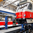 Trams in workshops in Depot Hostivar, Prague - Stock Photo