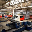 Stock Photo: Trams in workshops in Depot Hostivar, Prague