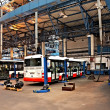 Foto Stock: Buses in workshops in Depot Hostivar, Prague