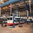 Stockfoto: Buses in workshops in Depot Hostivar, Prague
