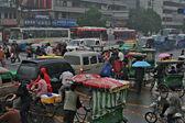 Traffic jam in rainy day on crossroads, Chengdu — Stock Photo